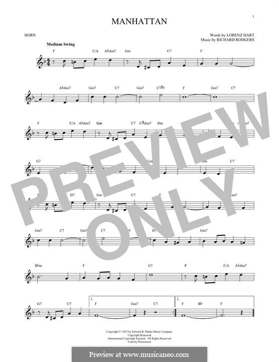 Manhattan: For horn by Richard Rodgers
