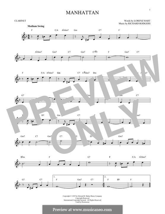 Manhattan: Für Klarinette by Richard Rodgers