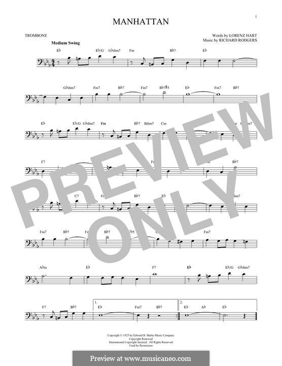 Manhattan: For trombone by Richard Rodgers