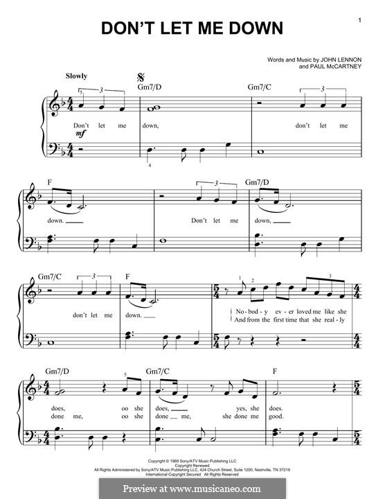 Don't Let Me Down (The Beatles): Für Klavier by John Lennon, Paul McCartney