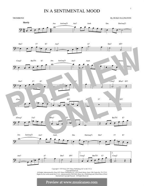 In a Sentimental Mood: For trombone by Irving Mills, Duke Ellington, Manny Kurtz
