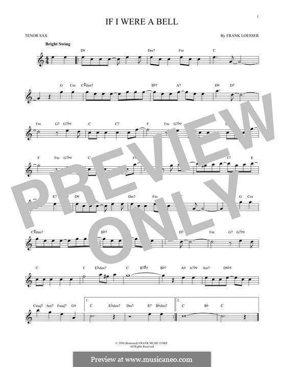 If I Were a Bell: Für Tenorsaxophon by Frank Loesser