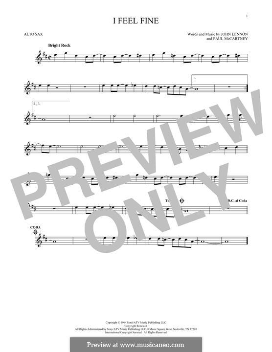I Feel Fine (The Beatles): Für Altsaxophon by John Lennon, Paul McCartney
