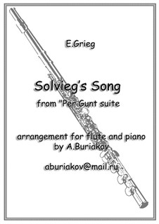 Suite Nr.2, Op.55: Solveig's Song, for flute and piano by Edvard Grieg