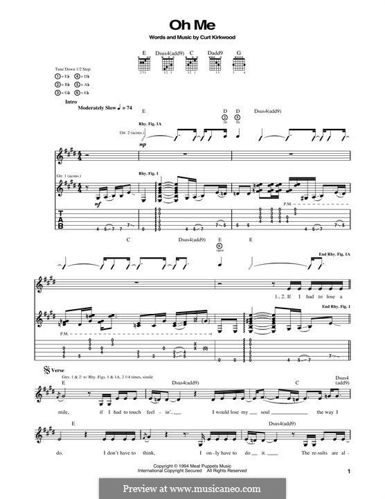 Oh Me (Nirvana): Für Gitarre mit Tabulatur by Curt Kirkwood