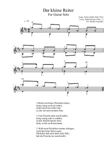 Der kleine Reiter: For guitar solo (D Major) by Robert Klaß