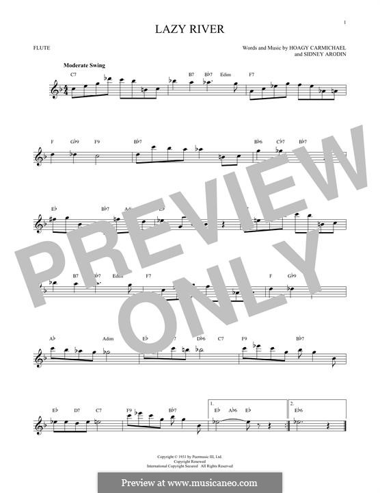 Lazy River (Bobby Darin): Für Flöte by Hoagy Carmichael, Sidney Arodin