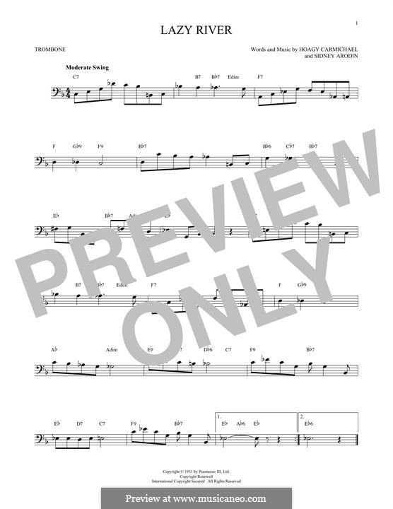 Lazy River (Bobby Darin): For trombone by Hoagy Carmichael, Sidney Arodin