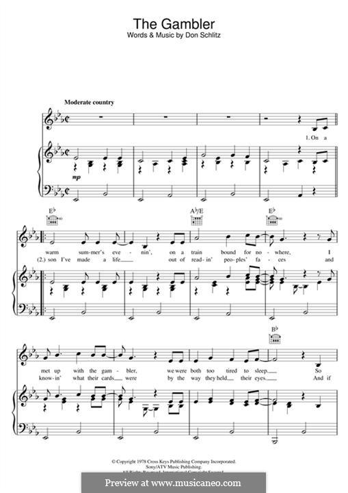 The Gambler (Kenny Rogers): Für Stimme und Klavier (oder Gitarre) by Don Schlitz