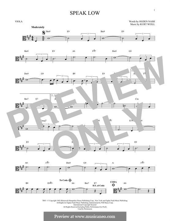 Speak Low: For viola by Kurt Weill