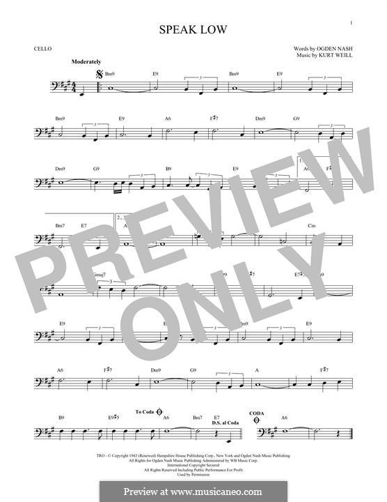 Speak Low: Für Cello by Kurt Weill