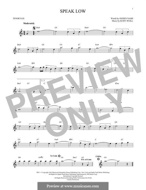 Speak Low: Für Tenorsaxophon by Kurt Weill