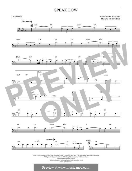 Speak Low: For trombone by Kurt Weill
