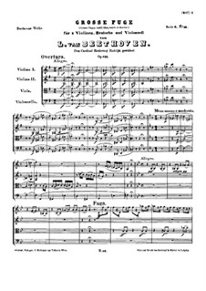 Grosse Fuge in B-Dur für Streichquartett, Op.133: Vollpartitur by Ludwig van Beethoven
