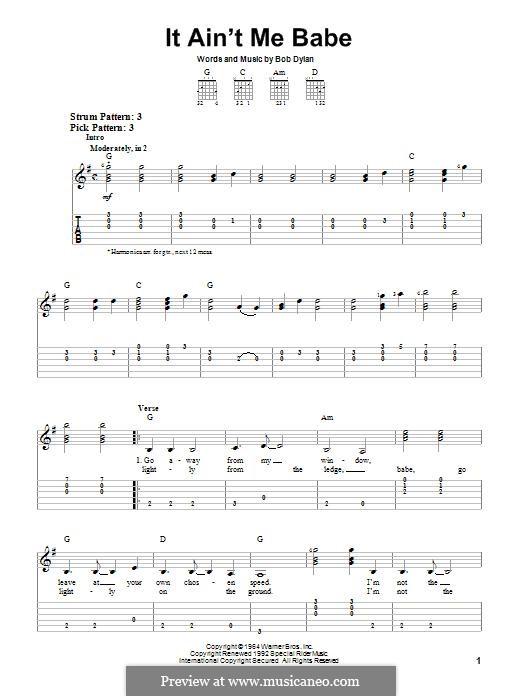 It Ain't Me Babe: Für Gitarre mit Tabulatur by Bob Dylan