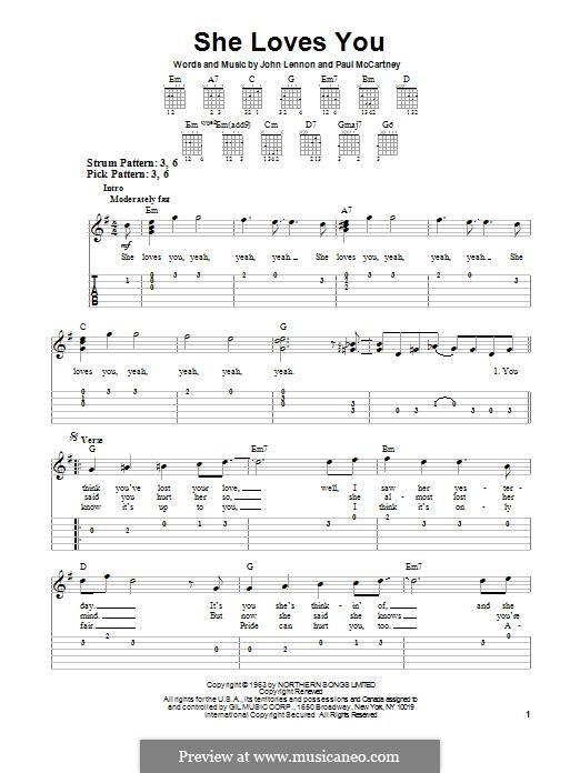 She Loves You (The Beatles): Für Gitarre mit Tabulatur by John Lennon, Paul McCartney