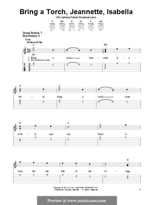Bring a Torch, Jeanette Isabella: Für Gitarre by folklore