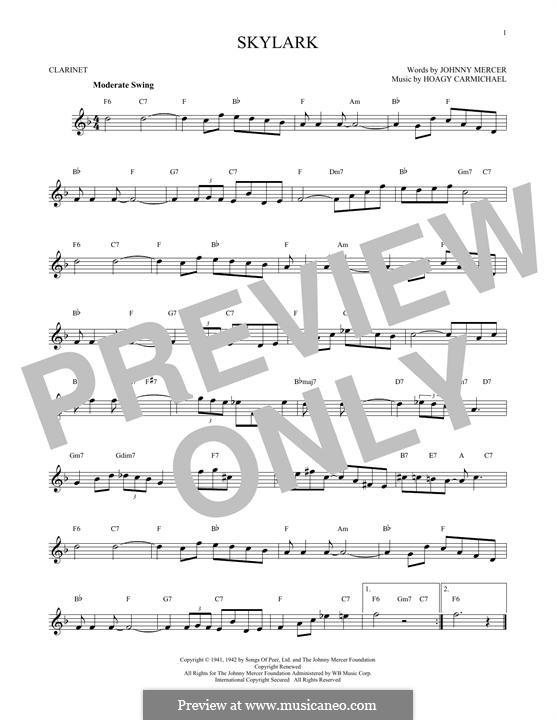 Skylark: Für Klarinette by Hoagy Carmichael