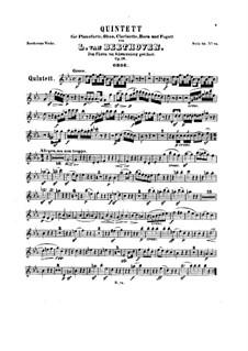Quintett für Klavier und Blasinstrumente in Es-Dur, Op.16: Blasinstrumentestimmen by Ludwig van Beethoven