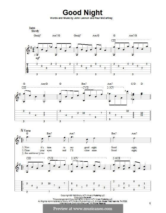 Good Night (The Beatles): Für Gitarre mit Tabulatur by John Lennon, Paul McCartney