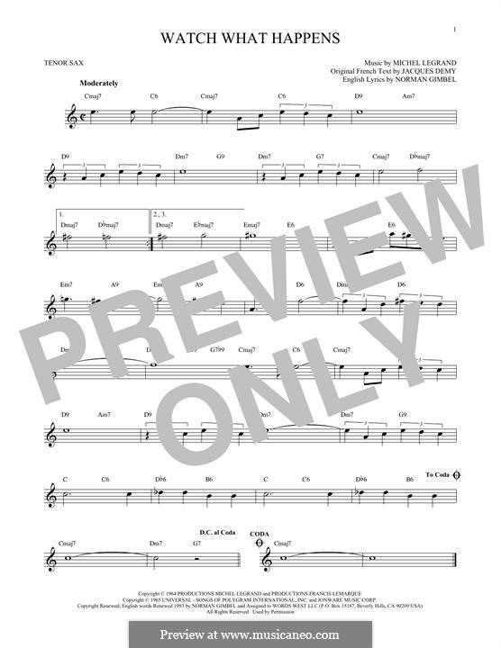 Watch What Happens: Für Tenorsaxophon by Michel Legrand