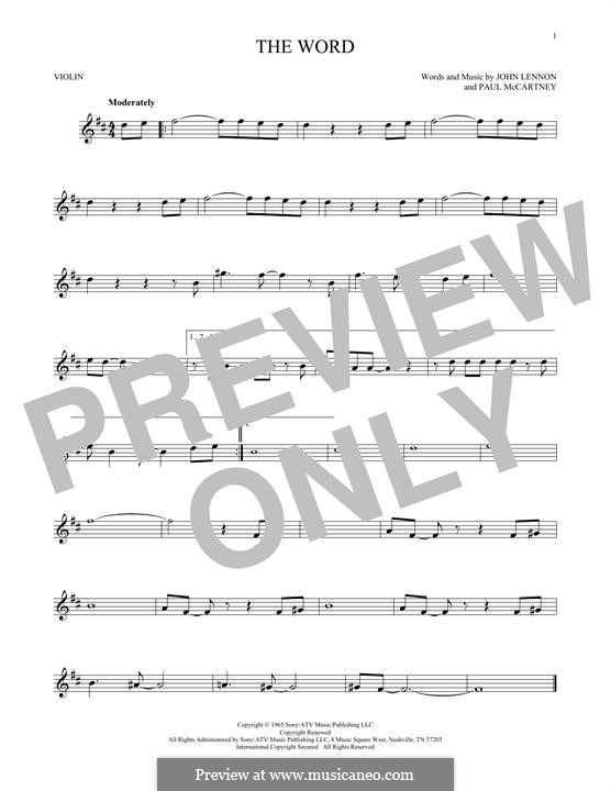 The Word (The Beatles): Für Violine by John Lennon, Paul McCartney