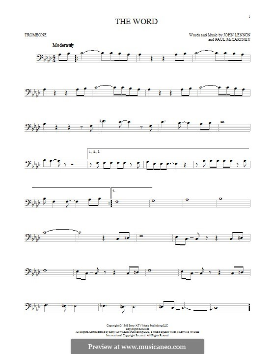 The Word (The Beatles): For trombone by John Lennon, Paul McCartney