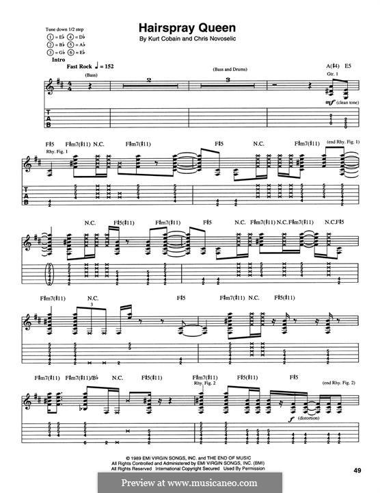 Hairspray Queen (Nirvana): Für Gitarre mit Tabulatur by Krist Novoselic, Kurt Cobain
