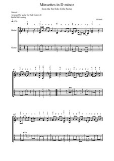 Suite für Cello Nr.1 in d-Moll, BWV 1008: Minuettes. Version for guitar by Johann Sebastian Bach