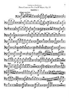 Konzert für Klavier und Orchester Nr.2, Op.19: Fagottstimmen by Ludwig van Beethoven