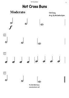 Hot Cross Buns: For beginning piano by folklore