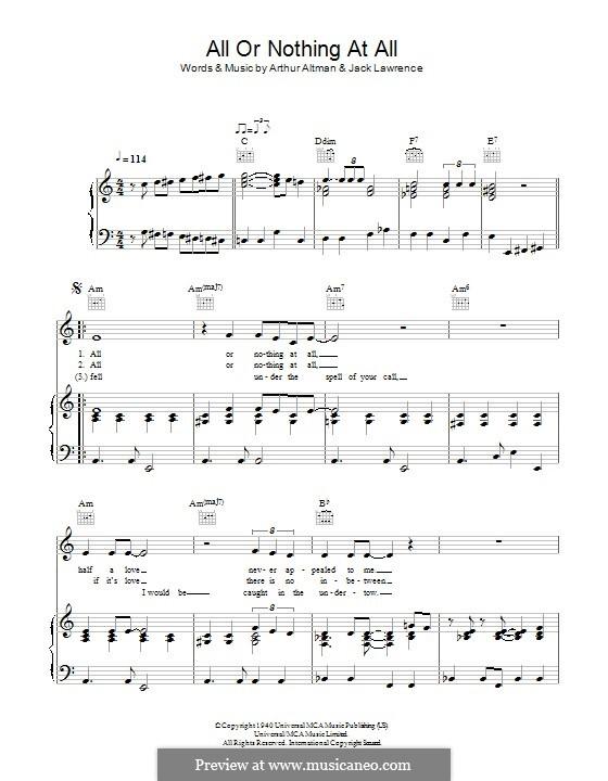 All or Nothing at All: Für Stimme mit Klavier oder Gitarre (Bob Dylan) by Arthur Altman, Jack Lawrence