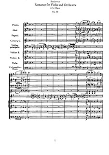 Romanze für Violine und Orchester Nr.1 in G-Dur , Op.40: Vollpartitur by Ludwig van Beethoven