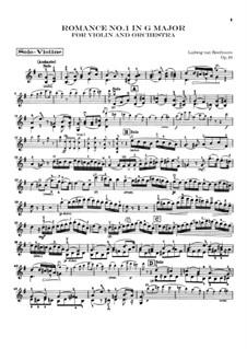 Romanze für Violine und Orchester Nr.1 in G-Dur , Op.40: Violine solo stimme by Ludwig van Beethoven