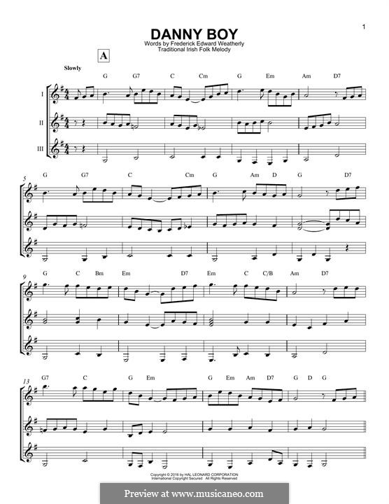 Danny Boy (Londonderry Air) Printable Scores: For any instrument by folklore