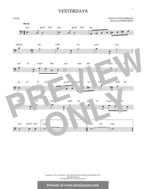 Yesterdays: Für Cello by Jerome Kern