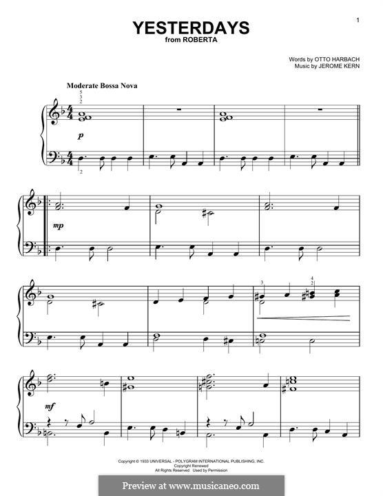 Yesterdays: Für Klavier by Jerome Kern