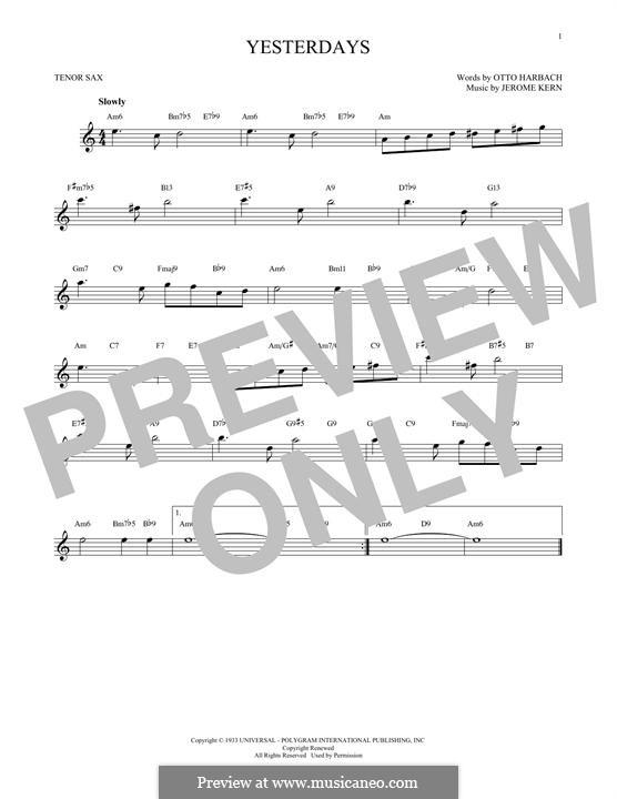 Yesterdays: Für Tenorsaxophon by Jerome Kern