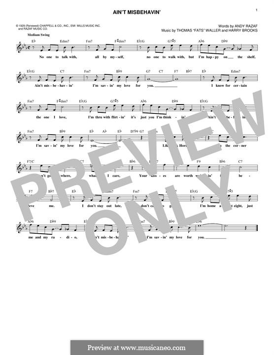 Ain't Misbehavin': Text und Akkorde by Fats Waller, Harry Brooks
