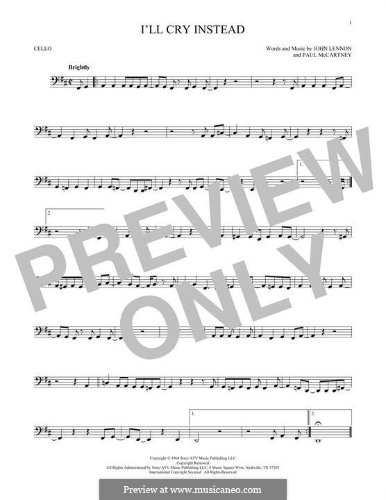 I'll Cry Instead (The Beatles): Für Cello by John Lennon, Paul McCartney
