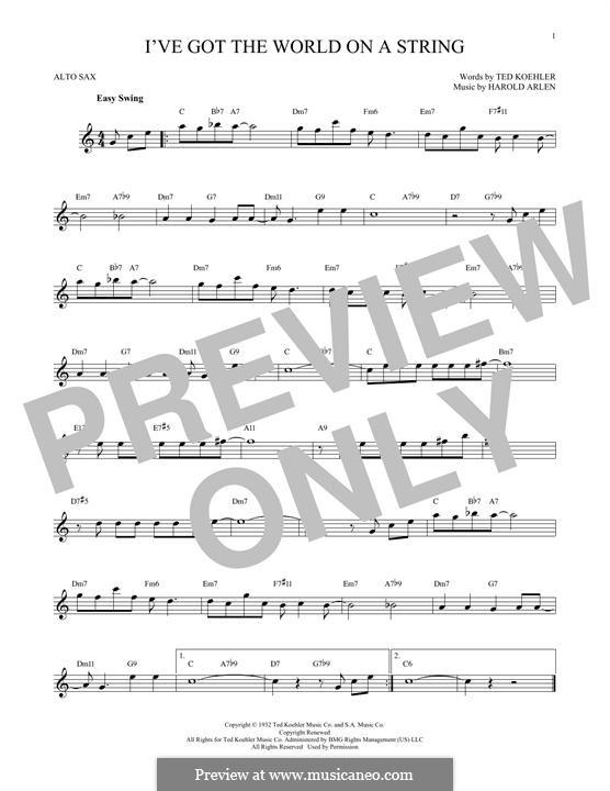 I've Got the World on a String: Für Altsaxophon by Harold Arlen