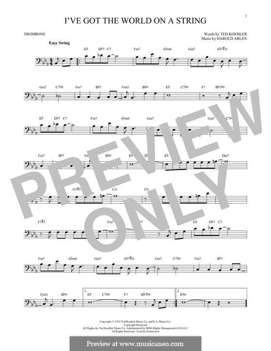 I've Got the World on a String: For trombone by Harold Arlen