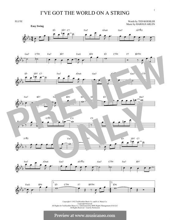 I've Got the World on a String: Für Flöte by Harold Arlen