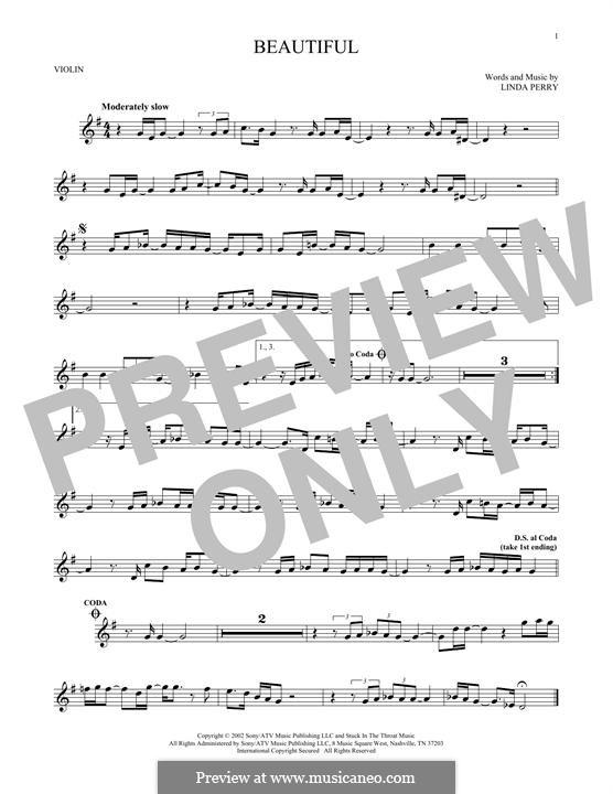 Beautifull (Christina Aguilera & Beverly McClellan): Für Violine by Linda Perry