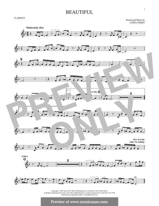 Beautifull (Christina Aguilera & Beverly McClellan): Für Klarinette by Linda Perry