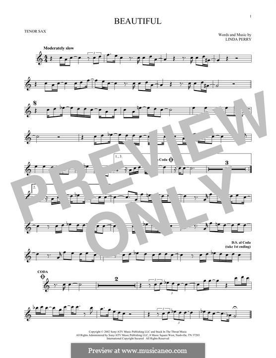 Beautifull (Christina Aguilera & Beverly McClellan): Für Tenorsaxophon by Linda Perry