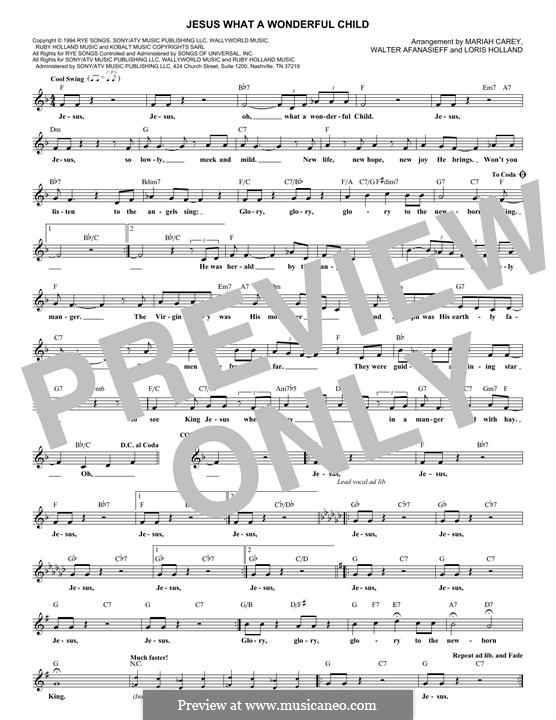 Jesus What a Wonderful Child: Melodische Linie by Mariah Carey, Walter Afanasieff