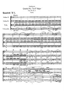 Streichquartett Nr.7 in F-Dur, Op.59 No.1: Vollpartitur by Ludwig van Beethoven