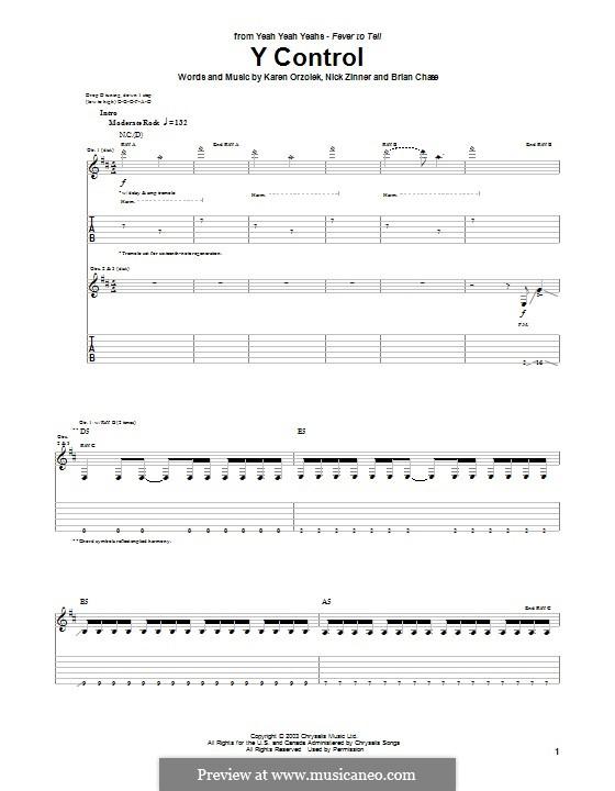 Y Control (Yeah Yeah Yeahs): Für Gitarre mit Tabulatur by Brian Chase, Karen O, Nicholas Zinner