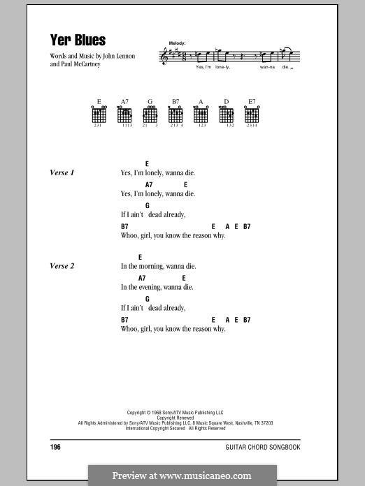 Yer Blues (The Beatles): Text und Akkorde by John Lennon, Paul McCartney